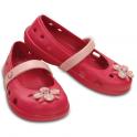 Crocs Girls Keeley Springtime Flat Raspberry/Petal Pink, slip on ballet flat shoe