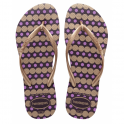 Havaianas Youth Slim Fresh Aubergine, Slim girls fit with fun polka dot