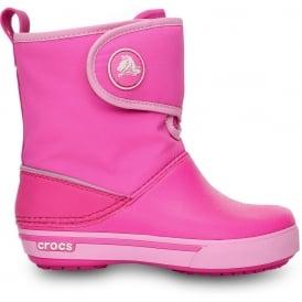 Crocs Kids Crocband II.5 Gust Boot Neon Magenta/Carnation, Water resistant nylon upper with velcro adjustable shaft