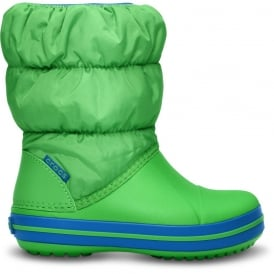 Crocs Kids Winter Puff Boot Lime/Sea Blue, puffed boots for warmth
