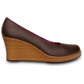 Crocs A-Leigh Closed Toe Wedge Espresso/Walnut, Genuine leather upper