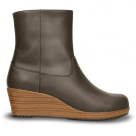Crocs A-Leigh Leather Bootie Espresso/Walnut, Smart Boot Genuine leather upper