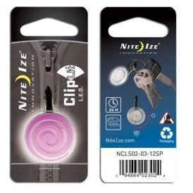 Nite Ize ClipLit Pink Spiral, Bright LED light and built-in carabiner