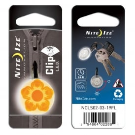 Nite Ize ClipLit Orange Flower, Bright LED light and built-in carabiner