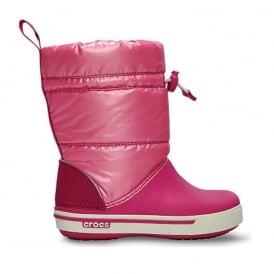 Crocs Kids Iridescent Crocband Gust Boot Fuchsia/Pink Lemonade, Water resistant nylon upper with shimmer