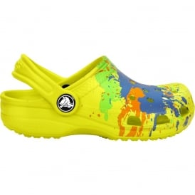 Crocs Kids Classic Splatter Clog Citrus, The original kids Croc shoe