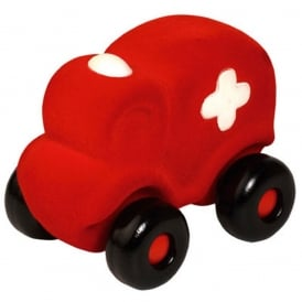 Rubbabu The Micro Ambulance Red, Natural foam toys in simple shapes and bright colours