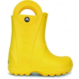 Crocs Kids Handle it Rain Boot Yellow, Easy on wellington