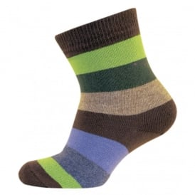 Melton Baby Sock Multi Stripe 482 Chocolate, Cute and cosy cotton socks