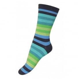 Melton Sock Multi Stripes 281 Navy, Cosy cotton socks