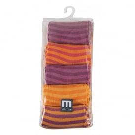 Melton Socks 5 Pack Stripes 541 Dark Fuchsia, Cosy cotton socks