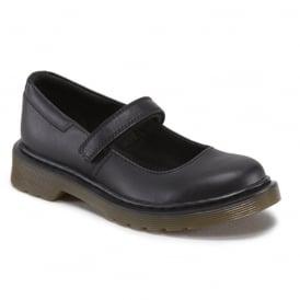 Dr Martens Maccy Junior Black, Mary jane style school shoe