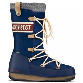 MoonBoot Moon Boots Monaco Felt Blue, Waterproof Iconic Boot