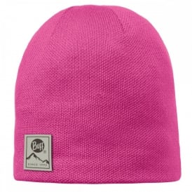 Buff Solid Hat Magenta, Plain knitted hat with fleece inside