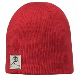 Buff Solid Hat Red, Plain knitted hat with fleece inside