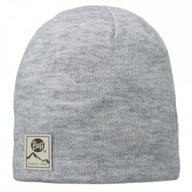 Buff Solid Hat Willa Melange Grey, Plain knitted hat with fleece inside