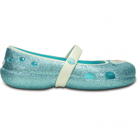 Crocs Girls Keeley Frozen Flat Pool, glitter effect frozen flat!
