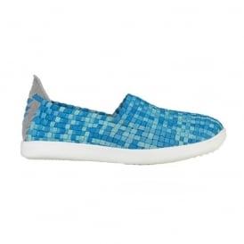 Dude E-Last Simple Turquoise, woven textile slip on shoe