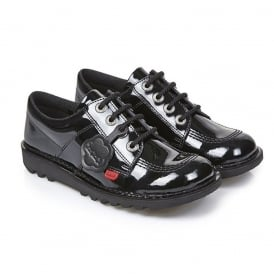 Kickers Kick Lo F Patent Black/Black Junior, the classic Kick Lo with a patent twist