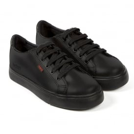 Kickers Tovni Lacer Junior Black, sporty leather laced shoe