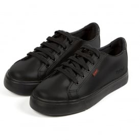 Kickers Tovni Lacer Leather AM Black/Black, sporty leather laced shoe