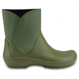 Crocs Rainfloe Bootie Army Green, waterproof ankle wellie boot