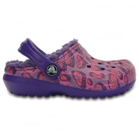 Crocs Kids Classic Lined Graphic Clog Leopard, all the comfort of the Classic Clog but with a warm fuzzy lining