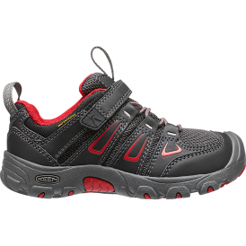 KEEN Kids Oakridge Low WP Black/Tango Red, hiker-inspired easy on and off waterproof shoe