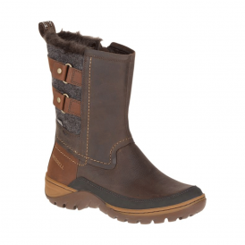 Merrell Womens Sylva Mid Buckle WP Potting Soil, waterproof ankle boot with buckle detail