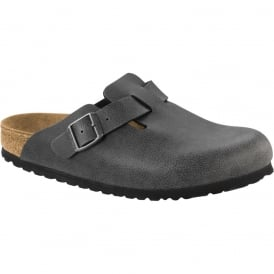 Birkenstock Boston Birko-Flor Pull Up Anthracite 1000304, vintage leather looking clog