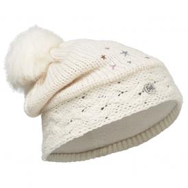 Buff Kids Darsy Knitted & Polar Fleece Hat Star White/Cru, warm and soft hat with fleece lining