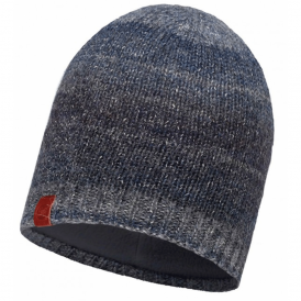 Buff Liz Knitted Hat Dark Navy/Grey Fleece, warm and soft hat with inner fleece band