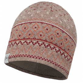 Buff Edna Knitted & Polar Fleece Hat Fossil/Brown, warm and soft hat with inner fleece band