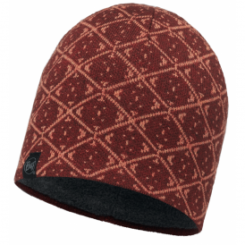Buff Ardal Knitted & Polar Fleece Hat Wine/Grey, warm and soft hat with inner fleece band