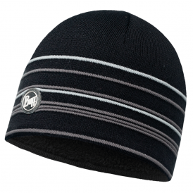 Buff Stowe Knitted & Polar Fleece Hat Black/Black, warm and soft hat with inner fleece band