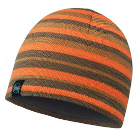 Buff Laki Stripes Knitted & Polar Fleece Hat Fossil/Grey, warm and soft hat with inner fleece band