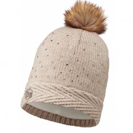 Buff Aura Knitted & Polar Fleece Hat Chic Cru/Cru, warm and soft hat with inner fleece band