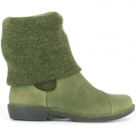 The Art Company 0848 Bergen Boot Khaki, slip on ankle boot with sock detail