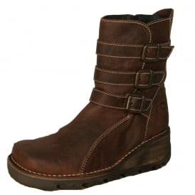 Oxygen Ystwyth Boot Tan, Mid height wedge leather boot