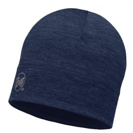 Buff Single Layer Merino Wool Hat Solid Denim, ideal for outdoor activity or a perfect base layer to protect from the cold