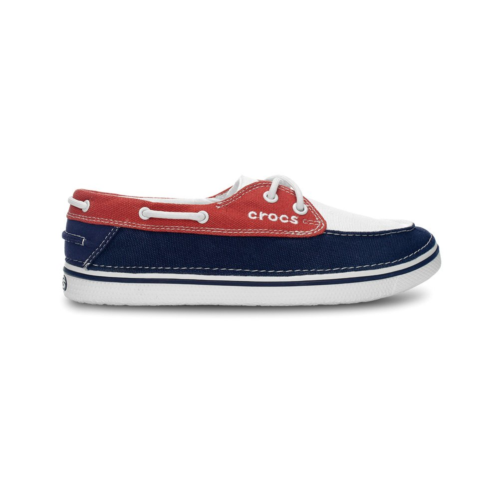 Crocs Hover Boat Shoe Womens Oyster/Scarlet, canvas lace up boat style