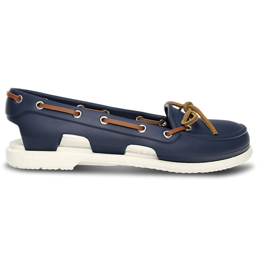 092fce9ed Image is loading Crocs-Womens-Beach-Line-Boat-Shoe-Navy-White-