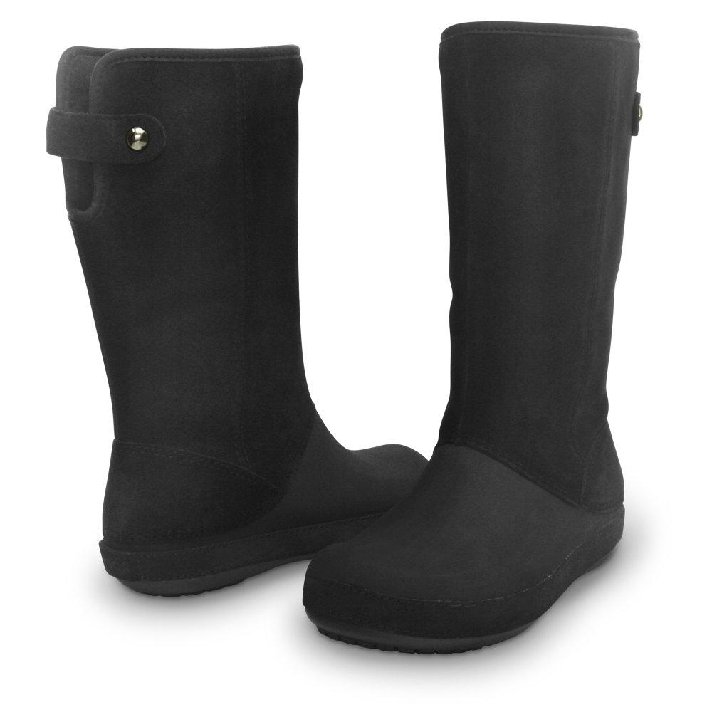crocs berryessa suede boot black black soft touch