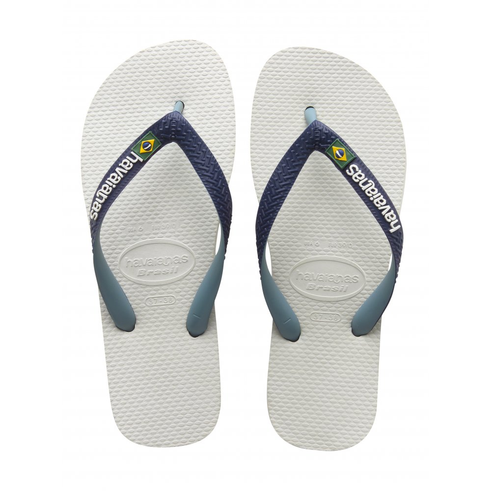 havaianas brasil logo mix white navy blue the original flip flop havaianas from jelly egg uk. Black Bedroom Furniture Sets. Home Design Ideas