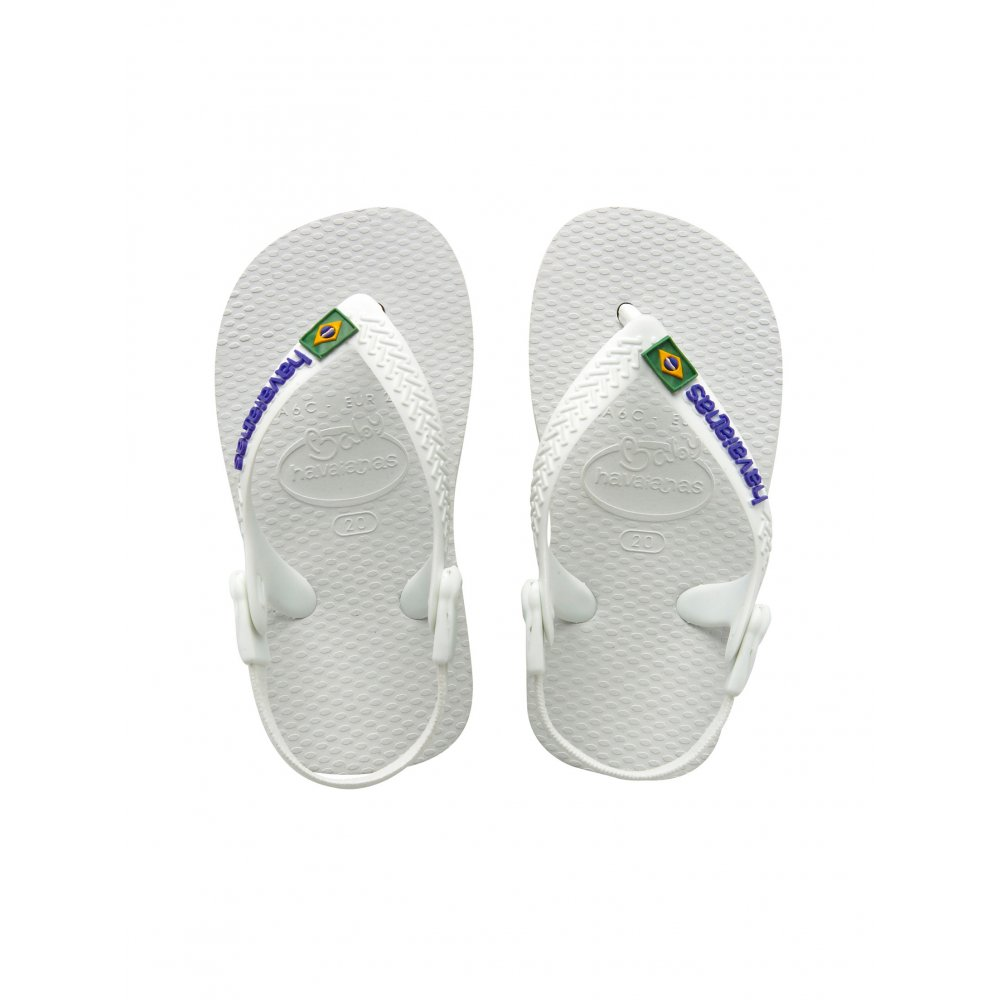 havaianas baby brasil logo white the original flip flop with elastic back strap havaianas. Black Bedroom Furniture Sets. Home Design Ideas