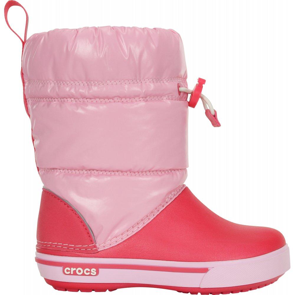 Crocs Kids Iridescent Crocband Gust Boot Ballerina Pink