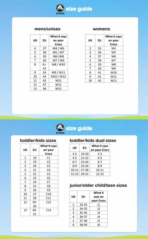 crocs size guide