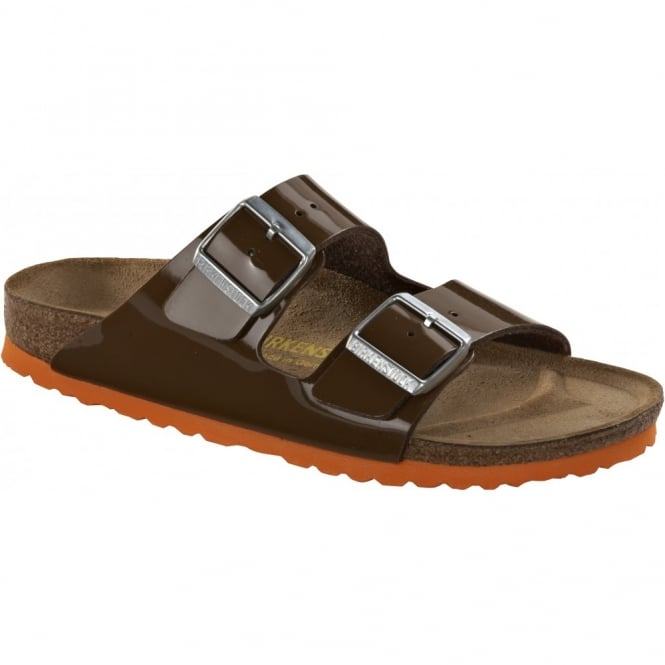 Birkenstock Arizona Patent Bison Brown/Orange 652691 Classic style sandal for cool comfort REGULAR