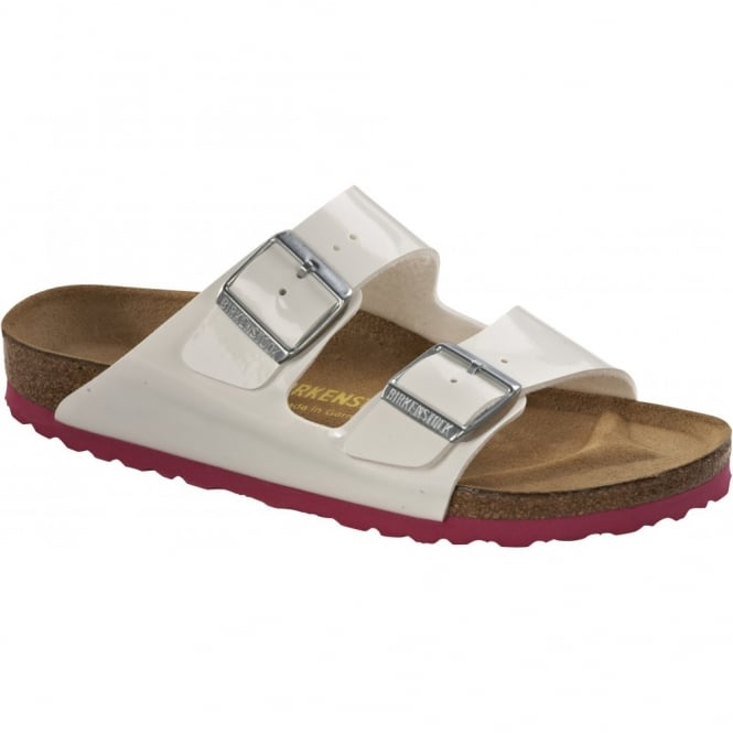 Birkenstock Arizona Patent White/Pink 652651, Classic style sandal for cool comfort