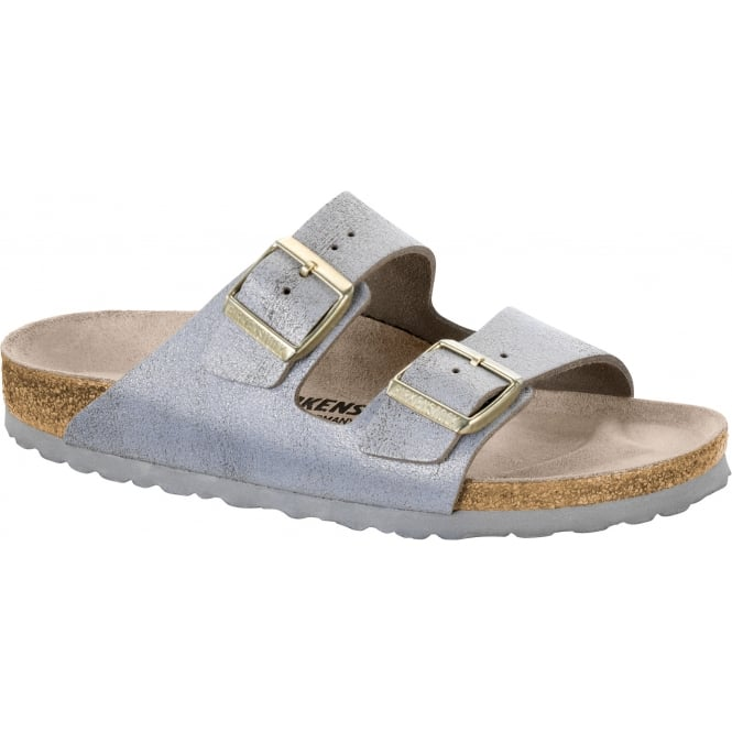 Birkenstock Arizona SL 1008796 Washed Metallic Blue Silver NARROW